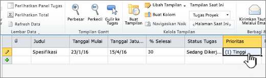 Mengisi judul, tanggal, dan status tugas proyek Anda
