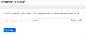 Cuplikan layar: mengundang pelanggan di grup publik Kaizala