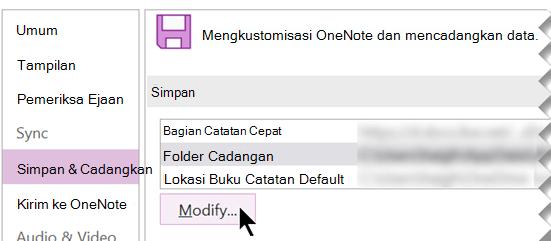 Cuplikan layar kotak dialog Opsi OneNote di OneNote 2016.