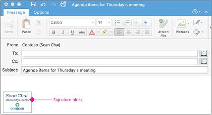 Pesan email dengan blok tanda tangan