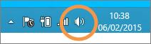 Fokus pada ikon speaker Windows yang ditampilkan pada bilah tugas