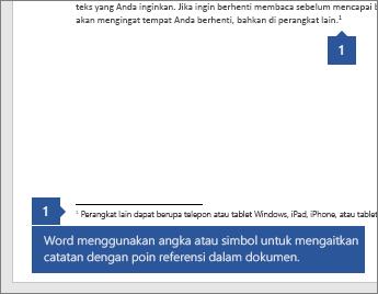 Word menggunakan angka atau simbol untuk mengaitkan catatan dengan titik referensi dalam dokumen