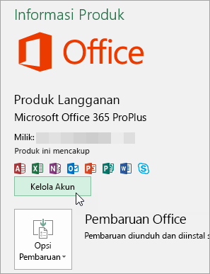 Cuplikan layar memilih Kelola Akun di halaman Akun di aplikasi desktop Office