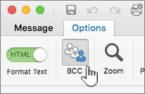Menemukan Bcc pada tab opsi