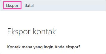 Cuplikan layar tombol Ekspor