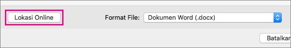 Klik Lokasi Online untuk menampilkan folder di layanan online yang harus Anda masuki.
