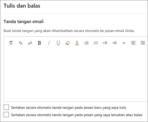Membuat tanda tangan email dalam Outlook di web