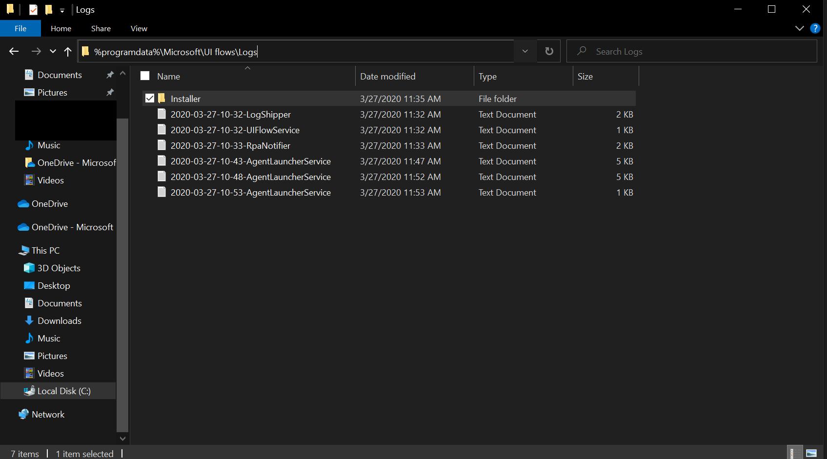 Cuplikan layar folder log Penginstal