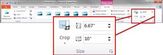 Grup Ukuran di tab Format di bawah Alat Gambar