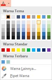 Pilih panah bawah di samping tombol warna Font untuk membuka menu warna