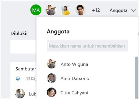 Cuplikan layar: memperlihatkan bahwa saat Anda mengetik nama tamu, perencana mengidentifikasi tamu.