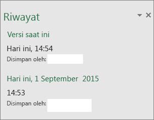 Panel riwayat di Excel 2016 untuk Windows