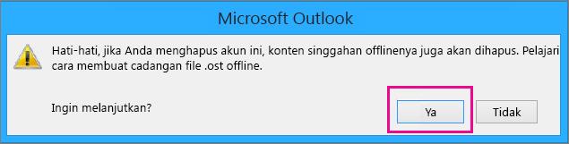 Saat Anda menghapus akun gmail Anda dari Outlook, klik Ya di peringatan tentang singgahan offline Anda sedang dihapus.