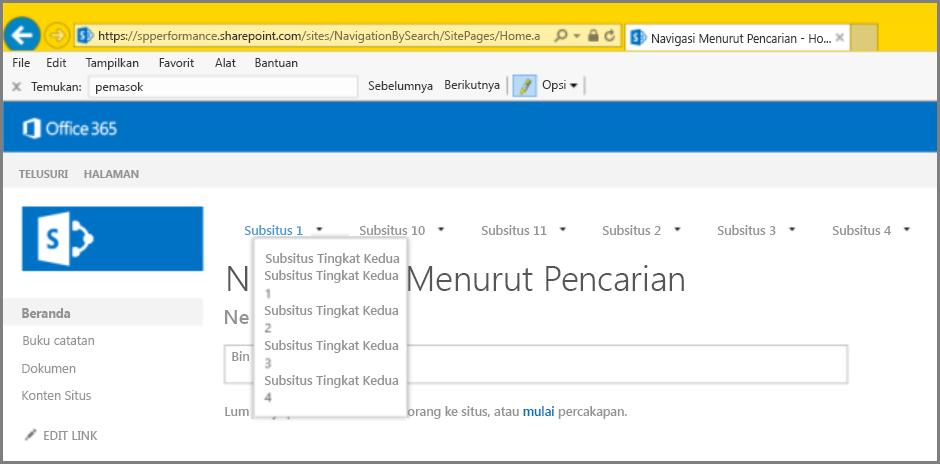 Cuplikan layar hasil navigasi