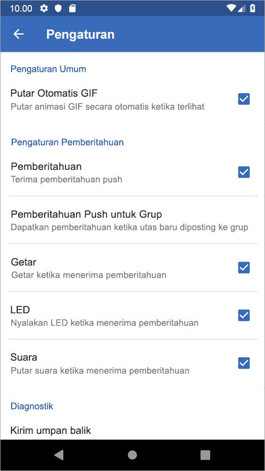 Yammer di Android pengaturan opsi