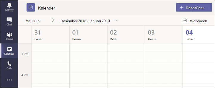 Pilih Kalender lalu pilih Rapat Baru.