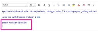 Cuplikan layar memperlihatkan tempat tabel bisa ditambahkan.