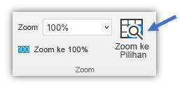Cuplikan layar tombol zoom ke pilihan di tab Tampilan pita.