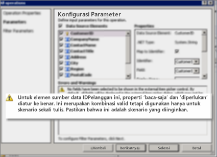 Cuplikan layar 2 dialog semua operasi di SharePoint Designer. Halaman ini memperlihatkan peringatan yang menjelaskan pengaturan untuk tombol properti pada daftar.