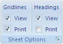 Opsi untuk mencetak garis kisi