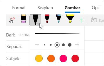 Cuplikan layar menu pena