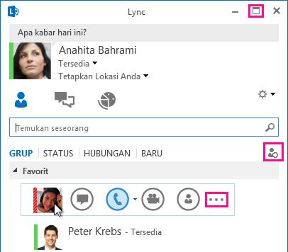 Cuplikan layar BILAH LYNC CEPAT