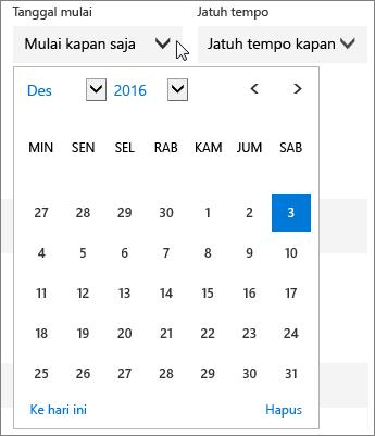 Cuplikan layar menu Tanggal Mulai yang diperluas untuk tugas Planner.