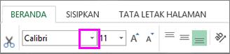 tombol pilihan font di pita
