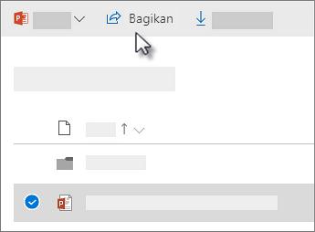 Cuplikan layar dari memilih file dan mengklik perintah Bagikan