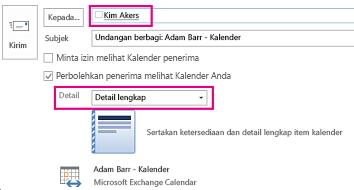 Undangan untuk berbagi email kotak surat secara internal - pengaturan kotak Kepada dan Detail
