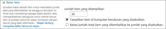 Mengatur jumlah item yang akan ditampilkan di halaman Pengaturan Tampilan