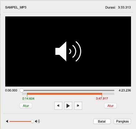 Kotak dialog Pangkas Audio