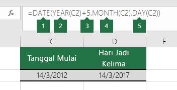 Menghitung tanggal berdasarkan tanggal lain