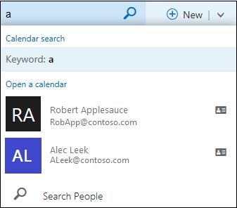 Daftar pencarian Kalender yang muncul saat Anda mengetikkan sesuatu di kotak Pencarian Kalender dan cocok dengan nama dalam daftar atau direktori kontak Anda.