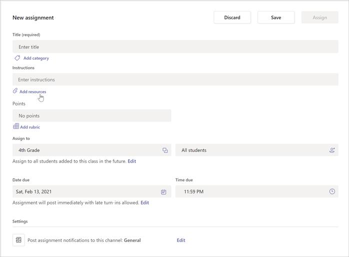 "Cuplikan layar halaman pembuatan tugas baru di tim kelas. Memperlihatkan area input untuk judul, instruksi, poin, tetapkan kepada, tanggal dan waktu jatuh tempo. Kursor memperlihatkan di mana tombol untuk ""menambahkan sumber daya"" berada."