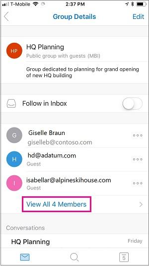 Pilih tautan Tampilkan semua anggota untuk melihat anggota grup