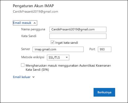 Pilih Pengaturan Server untuk mengubah pengaturan server, kata sandi, dan nama pengguna Anda.