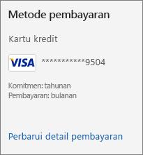 Bagian Metode pembayaran dari halaman Langganan, menampilkan tautan Perbarui detail pembayaran.
