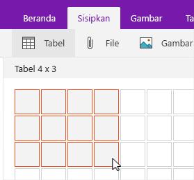 Perintah sisipkan tabel memperlihatkan kisi pilihan
