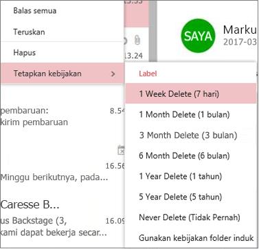 Cuplikan layar contoh kebijakan penyimpanan dalam grup di Outlook di web