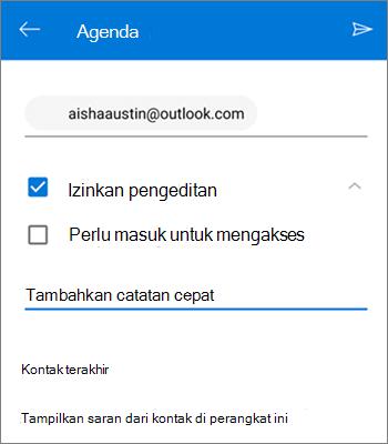 Cuplikan layar mengundang orang untuk berbagi file dari OneDrive untuk Android
