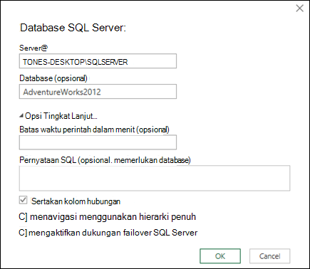 Dialog koneksi Power Query SQL Server Database