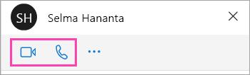 Cuplikan layar tombol suara dan video di jendela obrolan