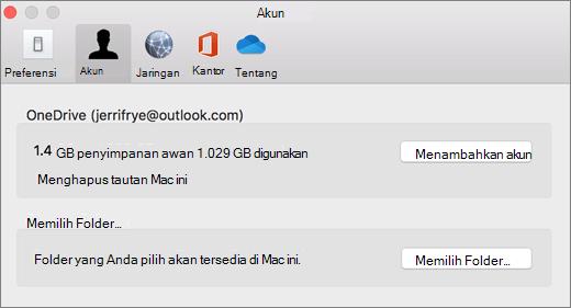 Cuplikan layar untuk menambahkan akun di preferensi OneDrive di Mac