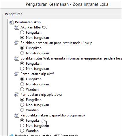 Pengaturan tingkat kustom, memperlihatkan Perbolehkan program access clipboard