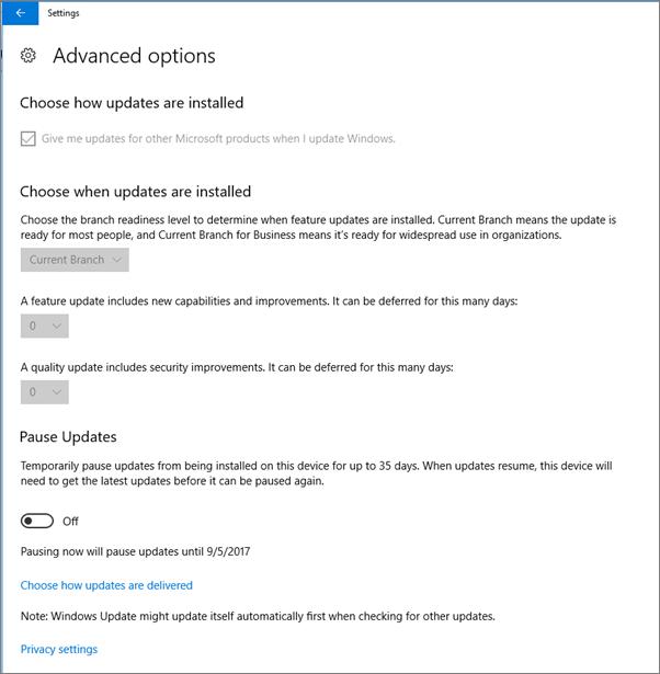 Opsi pembaruan Windows tingkat lanjut berwarna kelabu.