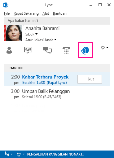 Cuplikan layar lingkungan rapat Lync