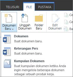 Tombol dokumen baru dengan menu turun bawah pada pita