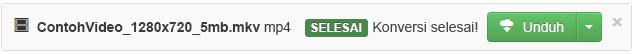 Ketika proses konversi selesai, tombol Unduh berwarna hijau akan muncul sehingga Anda dapat menyalin kembali file media yang dikonversi tersebut ke PC
