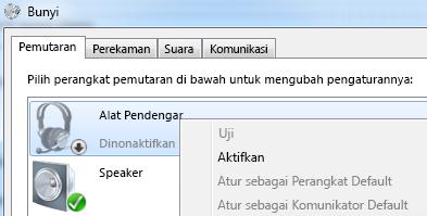 Cuplikan layar perangkat yang diaktifkan